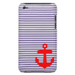 Red Anchor and Navy Blue Sailor Stripes Barely There iPod Cover
