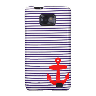 Red Anchor and Navy Blue Sailor Stripes Samsung Galaxy SII Cases