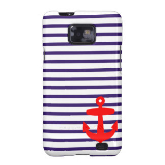 Red Anchor and Navy Blue Sailor Stripes Samsung Galaxy SII Case