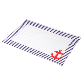 Red Anchor and Navy Blue Sailor Stripes Cloth Placemat