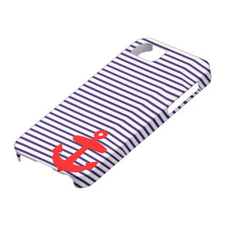 Red Anchor and Navy Blue Sailor Stripes iPhone SE/5/5s Case