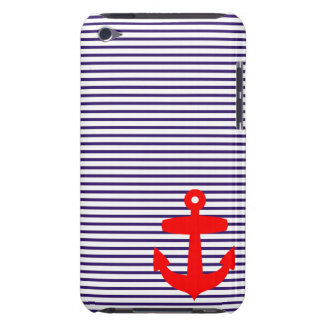Red Anchor and Navy Blue Sailor Stripes iPod Case-Mate Case