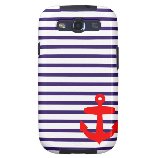Red Anchor and Navy Blue Sailor Stripes Samsung Galaxy SIII Case