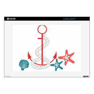 Red Anchor and Shells Skins For Laptops