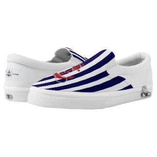 Red Anchor and Stripes Zipz Slip On Shoe