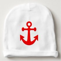 Red Anchor Baby Beanie