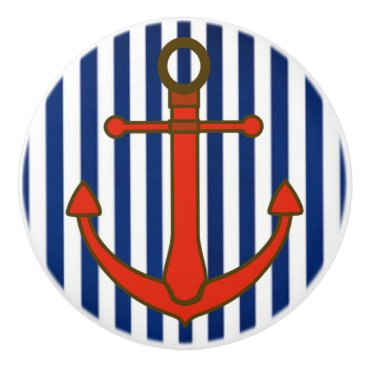 Beach Themed Red Anchor Blue Striped  Nautical Cabinet Knob