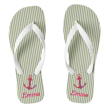 Beach Themed Red Anchor Green Stripes Specialized Tropical Flip Flops