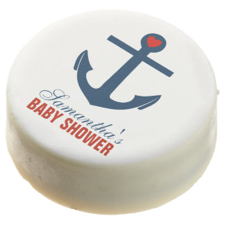 Red Anchor Nautical Baby Shower Chocolate Covered Oreo