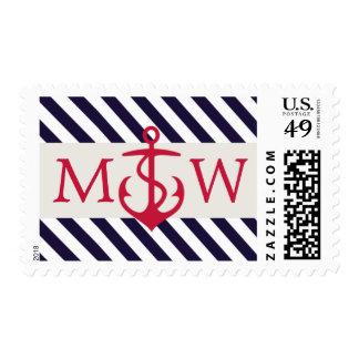 Red Anchor Nautical Monogram Wedding Stamps