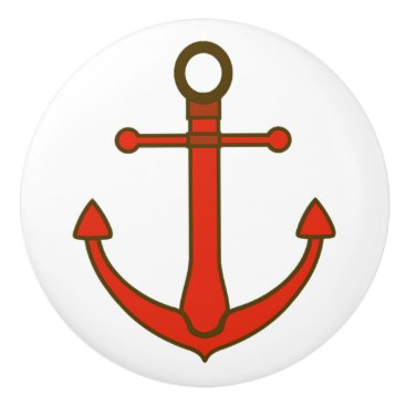 Beach Themed Red Anchor Nautical Themed Cabinet Knob