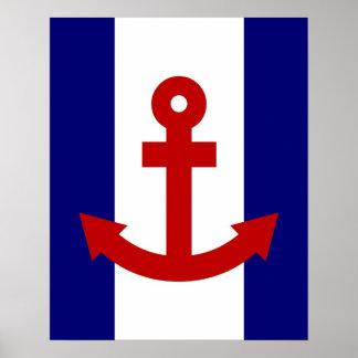 Red Anchor navy & white stripes print poster