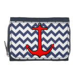 Red Anchor on Blue and White Chevron Wallet