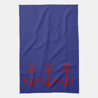 Red Anchor on Blue Nautical Towels