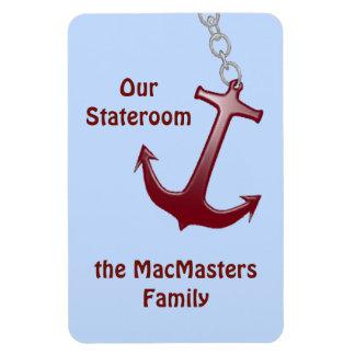 Red Anchor on Blue Vert. Stateroom Door Marker Magnet