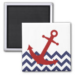 Red Anchor on Chevron Ocean 2 Inch Square Magnet