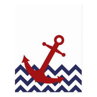 Red Anchor on Chevron Ocean Postcard