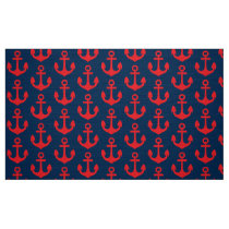 Red Anchor on Navy Blue Background Pattern Fabric