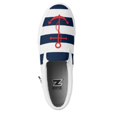 heartlocked Red Anchor on Navy Blue Stripes Slip-On Sneakers