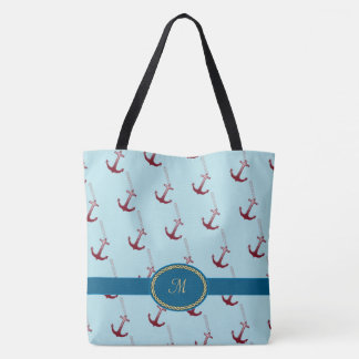 Red Anchor Pattern Monogrammed Tote Bag