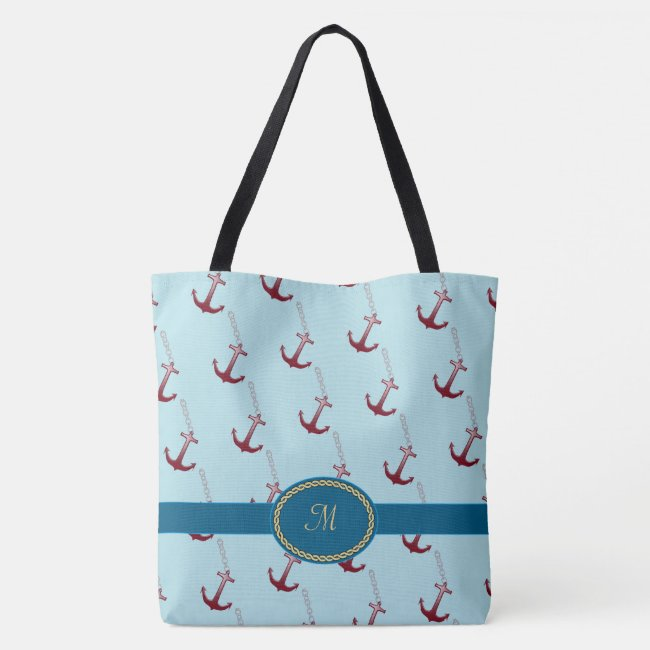 Red Anchor Pattern Monogrammed