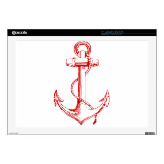 "Red Anchor Decals For 17"" Laptops"