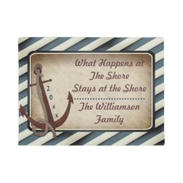 Beach Themed Red Anchor What Happens at the Shore Monogram Doormat