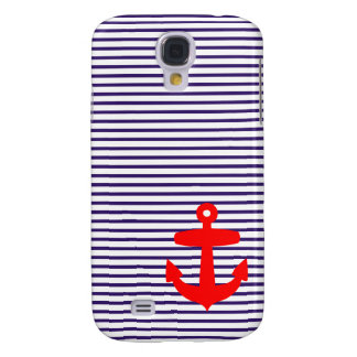 Red Anchor with Blue Breton Stripes Samsung Galaxy S4 Cover