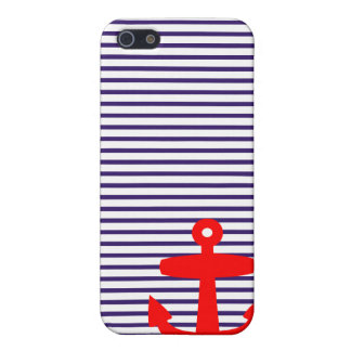 Red Anchor with Blue Breton Stripes Cover For iPhone 5