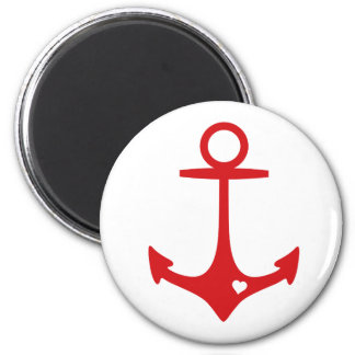 Red Anchor with heart 2 Inch Round Magnet