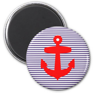 Red Anchor with Navy Blue Breton Stripes 2 Inch Round Magnet