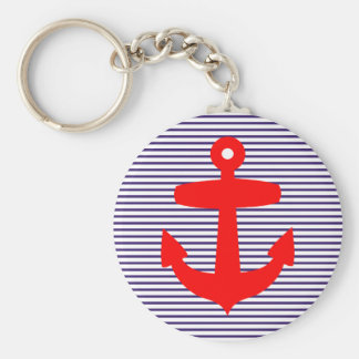 Red Anchor with Navy Blue Breton Stripes Key Chains