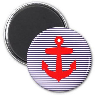 Red Anchor with Navy Blue Breton Stripes Fridge Magnet