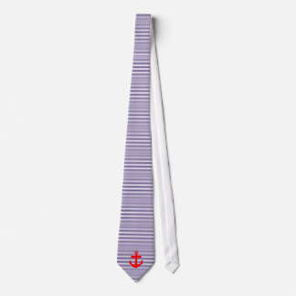 Red Anchor with Navy Blue Breton Stripes Neck Tie