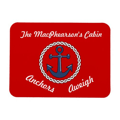 Red Anchors Aweigh Stateroom Door Marker Magnet
