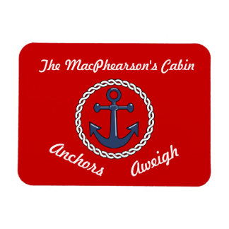 Red Anchors Aweigh Stateroom Door Marker Rectangular Photo Magnet