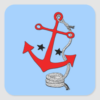 Red Anchors (for  ) Square Sticker