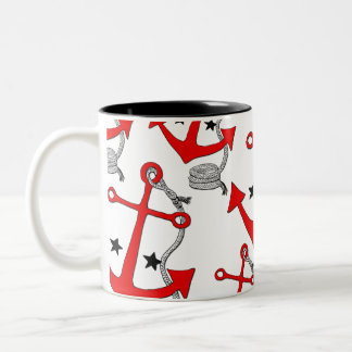 Red Anchors (for  ) Two-Tone Coffee Mug