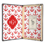 Red Anchors on White, Red 3 Initial Monogram Case For iPad Air