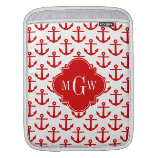 Red Anchors on White, Red 3 Initial Monogram iPad Sleeve