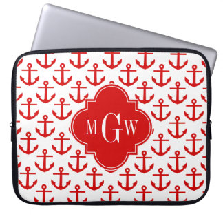 Red Anchors on White, Red 3 Initial Monogram Laptop Sleeve