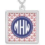 Red Anchors White BG, Circle Monogram on Navy Blue Square Pendant Necklace
