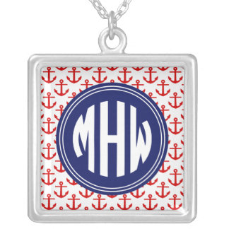 Red Anchors White BG, Circle Monogram on Navy Blue Pendants