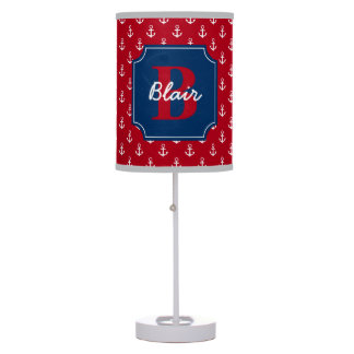 Red Anchors with Navy Frame Name and Initial Table Lamp