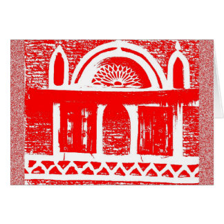Red ancient architecture card