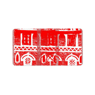 Red ancient architecture label