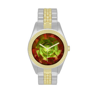 Red and  Aeonium Succulent Square by Amy Vangsgard Wristwatches