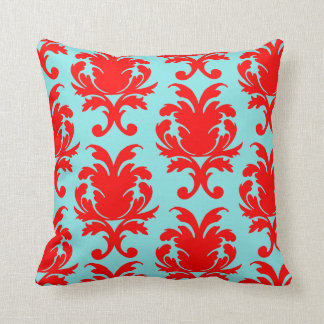red and aqua blue lovely formal damask throw pillow