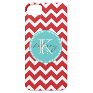 Red and Aqua Chevron Custom Monogram iPhone SE/5/5s Case