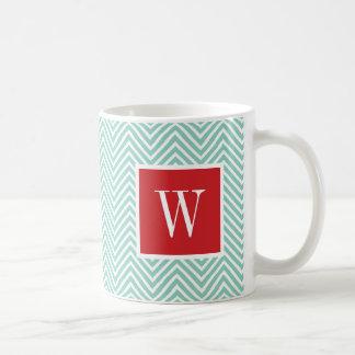 Red and Aqua Chevron Monogram Coffee Mug